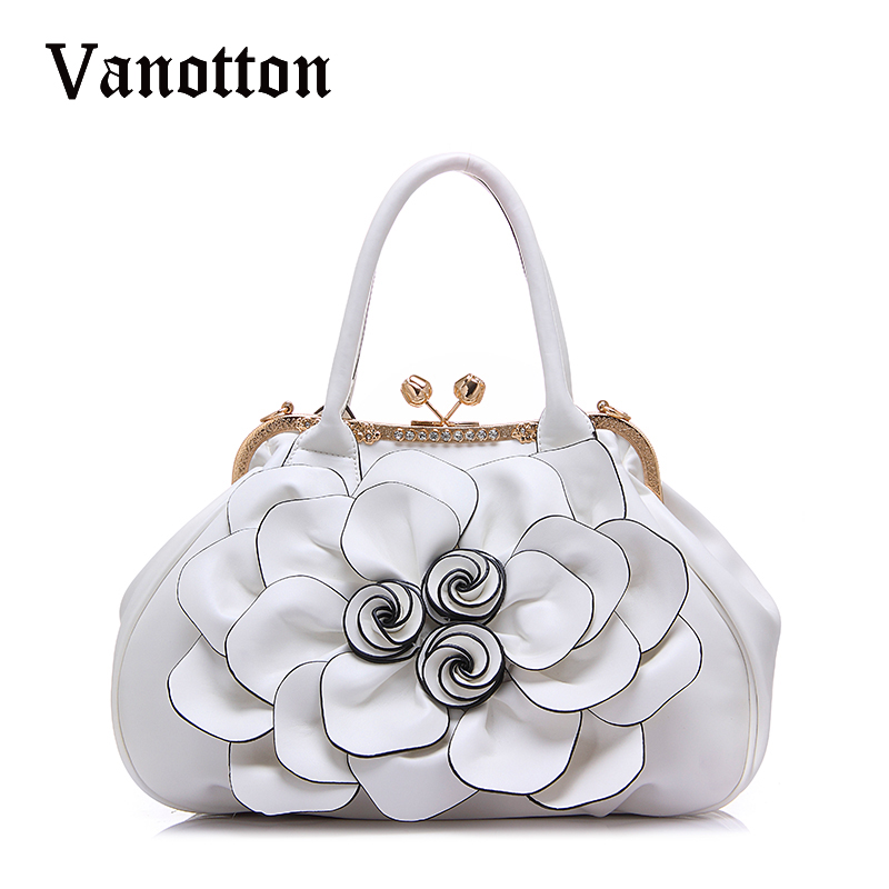 2017 fashion Brand Design Women Casual Floral Handbags High Quality PU Leather B