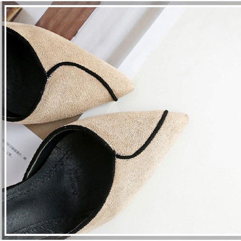 Qualité A3112 Chaussures A Femmes Confortable Noir Haut D'été Talons Mignon Talon Flock Casual Printemps Pompes b Et Hauts Haute Lady UTxqfrTYv