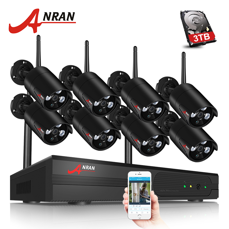 ANRAN 8CH CCTV System Wireless 1080P NVR 8PCS 2.0MP IR Outdoor Waterproof P2P Wifi Security Camera System Surveillance Kit anran new listing 8ch ahd camera system 1080n hdmi dvr p2p 8pcs 1 0 mp 1800tvl ir outdoor cctv camera system surveillance kit