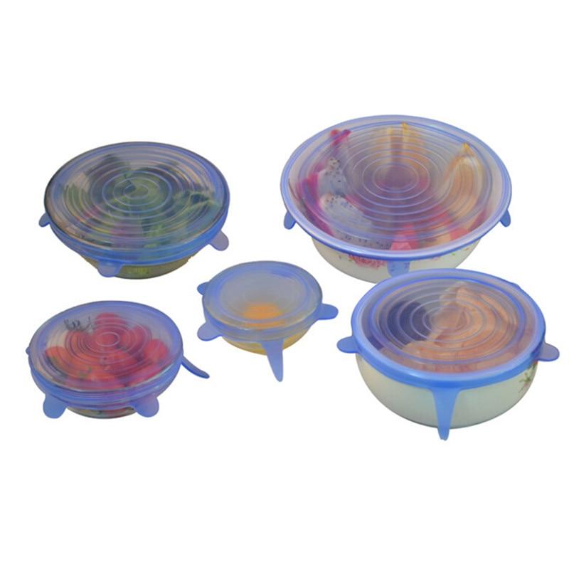 Stretchable Silicone Stretch Víčka Potahové potraviny Silikonové kuchyně Piknik Venkovní opakovaně použitelný Víceúčelový Pohodlný Pan Knob Lid