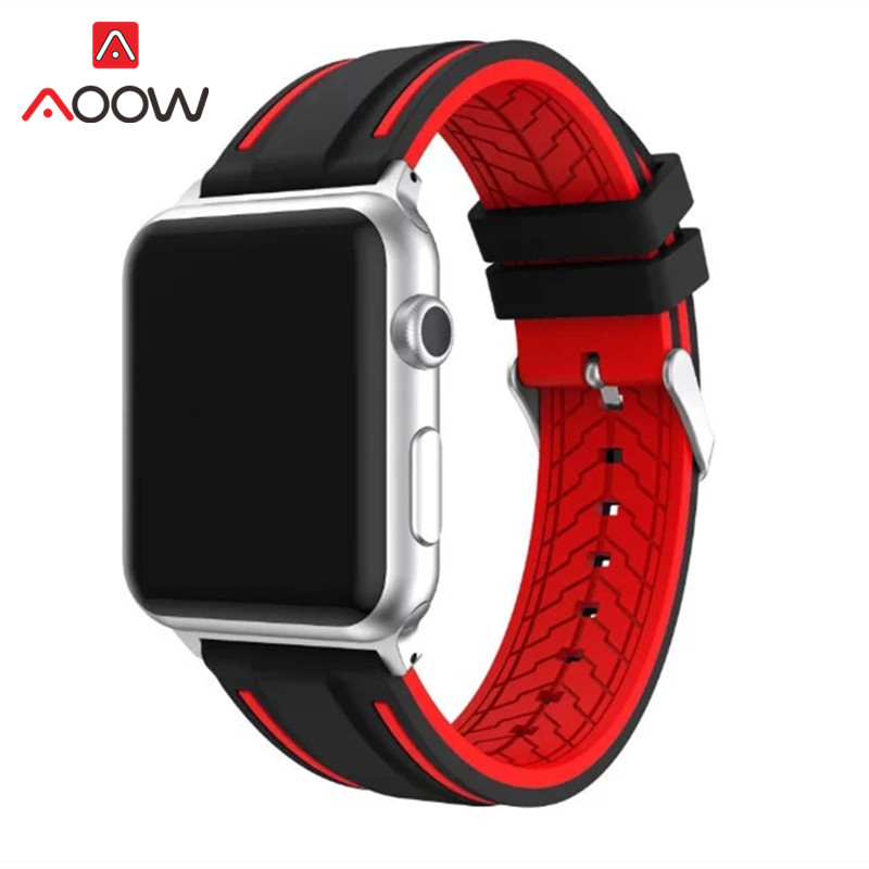 Soft Silicone Watchband For Apple Watch 38mm 42mm Fashion Double Color Sport Replacement Bracelet Strap Band for iwatch 1 2 3 4 цена