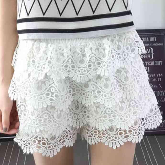 #0657 Sexy Big Size   Shorts   White/Black Lace   Shorts   Women XL-4XL Summer 2019 Elastic Waist Wide Leg   Shorts   Ladies Multi-layer