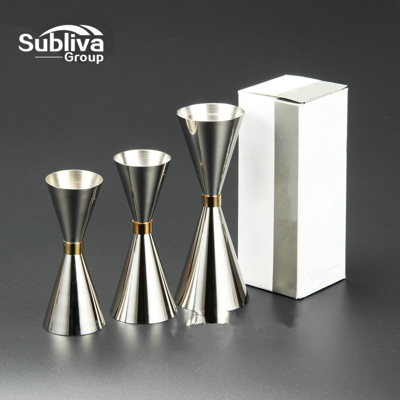 1PCS Stainless Steel Slim Double Jigger Cocktail Mätning Jigger Sprit Mearing Cup Martini Mätverktyg Bar