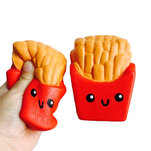 Funny Squishy Toys French Fries/Rainbow Ice Cream Elastic PU Stress Relief Antistress Squeeze Toy Kids Phone Strap Decor Gifts(China)