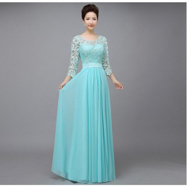 Длинные Кружева мама Невесты Платья Половина Рукава О-Образным Вырезом формальные Свадьба Женщины Платье Красный Свет Синий Темно-Зеленый бургундия
