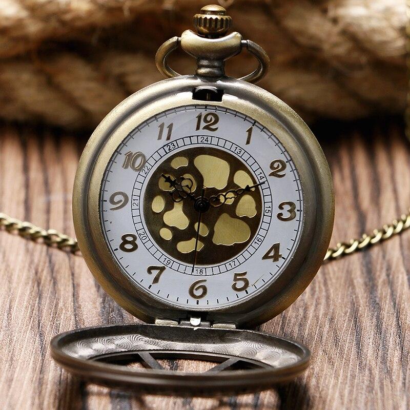 2016 New Arrival Skeleton Hexagonal Design Bronze Quartz Pocket Watch Vintage Hollow Men Women Gift With Chain Relogio Masculino