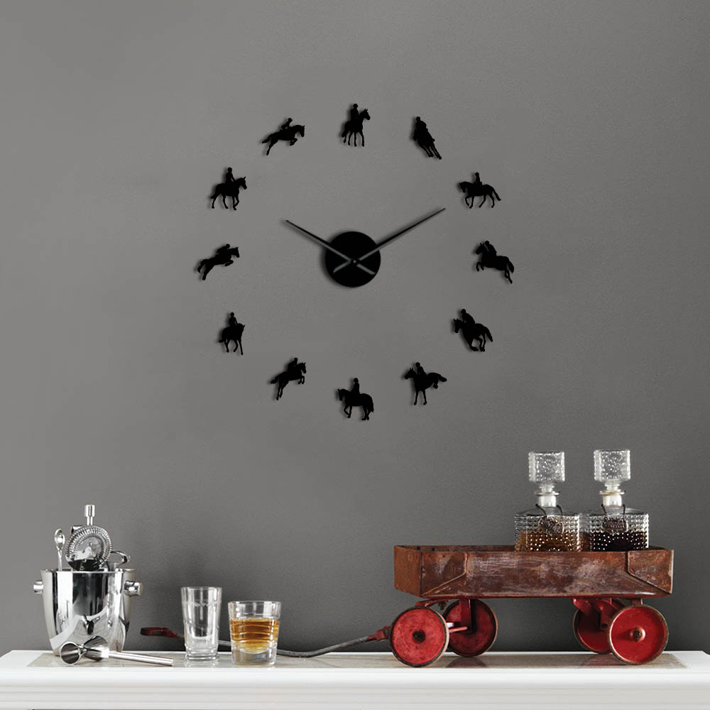 Large Frameless Diy Wall Clock Acrylicl Mirror Sports Horse Race 3d Watch Personalized Horse Riding Wall Clocks Free Shipping
