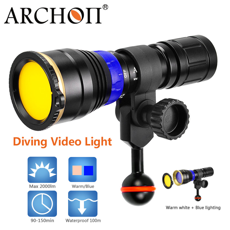 ARCHON Waterproof 100 M 12W Diving Light Blue+warm White COB LED Underwater Photographic Light HD Video Photo Diving Lighting