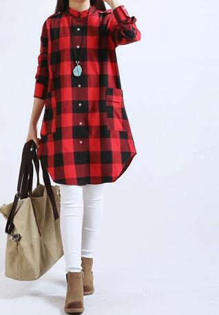 1pcs/lot free shipping woman casual plaid long blouse cotton linen full plaid blouse lady long shirt plus size