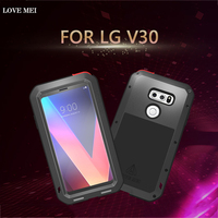 LoveMei For LG V30 Case Luxury 3D Brand Hard Metal Aluminum+Soft Silicone Armor Protective Shockproof Back Phone Case Cover Capa