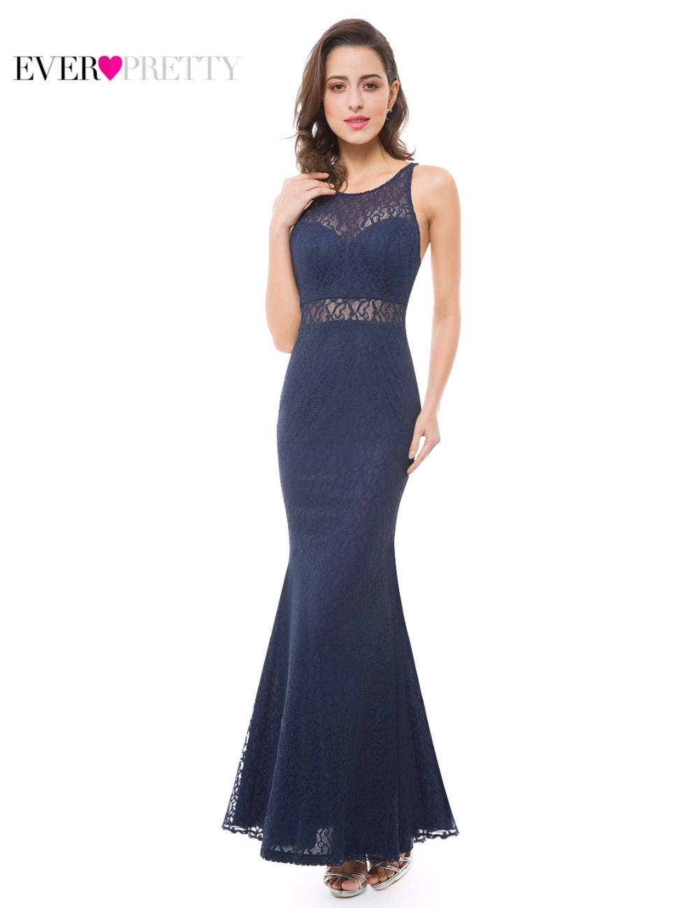 Ever-Pretty 2018 Fashion Women Evening Dress Elegant Lace Sexy Spaghetti Strap Backless Floor-Length Party Evening Dress EP07033