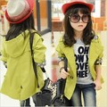 2017 Full Real Rushed Regular Solid Fashion Wind Coat Cardigan Jackets For Girls Spring Trend Style Kids Girl Trench 120-160cm