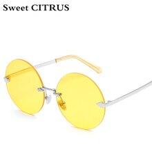 CÍTRICOS dulces Flecha Claras Gafas de Sol de Las Mujeres de la Marca de Gran Tamaño Redondas steampunk gafas Vintage Gafas de Sol Femeninas gafas de sol mujer