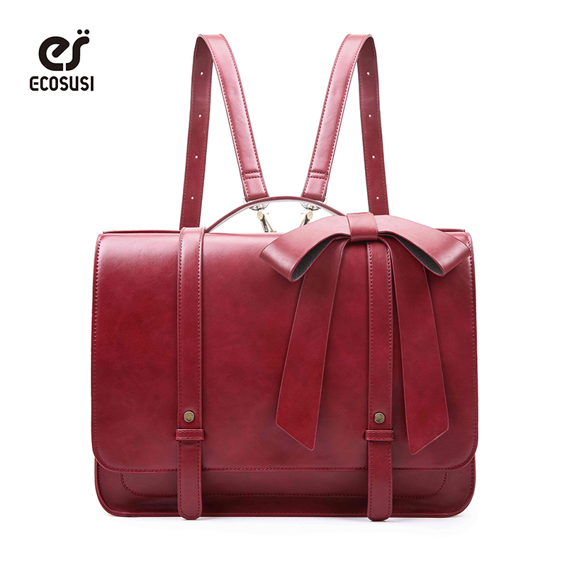 ECOSUSI Women Briefcase 14.7' Laptop Shoulder Bag with Detachable Bow PU Leather Satchel bag Vintage Messenger Bags Handbag ecosusi new fashion women pu leather handbags vintage pu leather messenger bags shoulder school laptop messenger bags tote bag