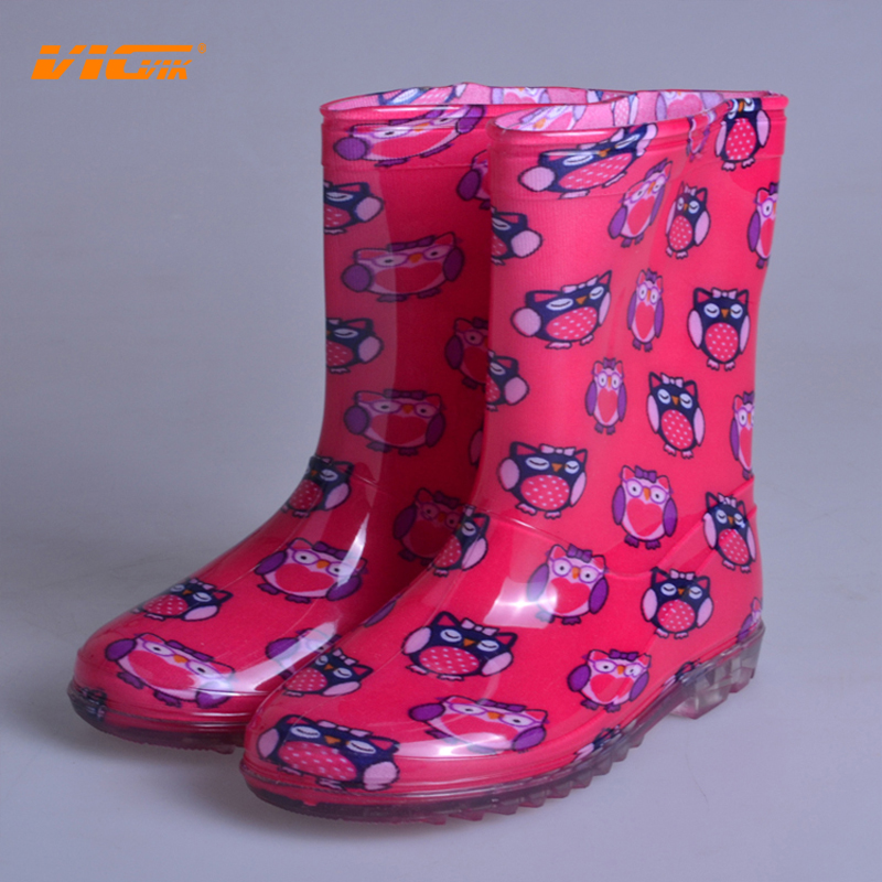 Kids PVC Shoes Cartoon Style Owl Girls Rain Boots Pink Waterproof ...