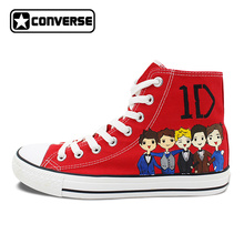 Red Women Men Converse Chuck Taylor 1D Shoes One Direction Design Hand Painted High Top Canvas Sneakers Wedding Christmas Gifts(China)