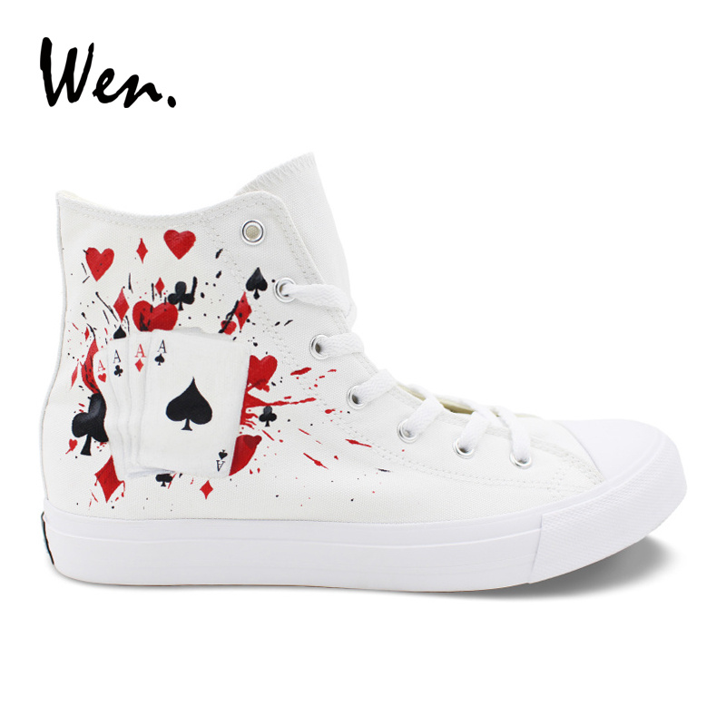 Wen Custom Design Hand Painted Canvas White Shoes Poker Dice High Top Men Womens Sneakers Shoes for Skateboarding