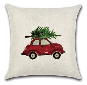 Image 2 - 2 قطعة الأحمر الأصفر سيارة حافلة تحمل عيد الميلاد شجرة وسادة غطاء وسادة حالة المنزل الزخرفية غطاء الوسادة