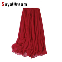 Women Silk Long Skirt 100 Real Silk Solid Wine Pleated Skirts Two Layers Silk Mid Calf