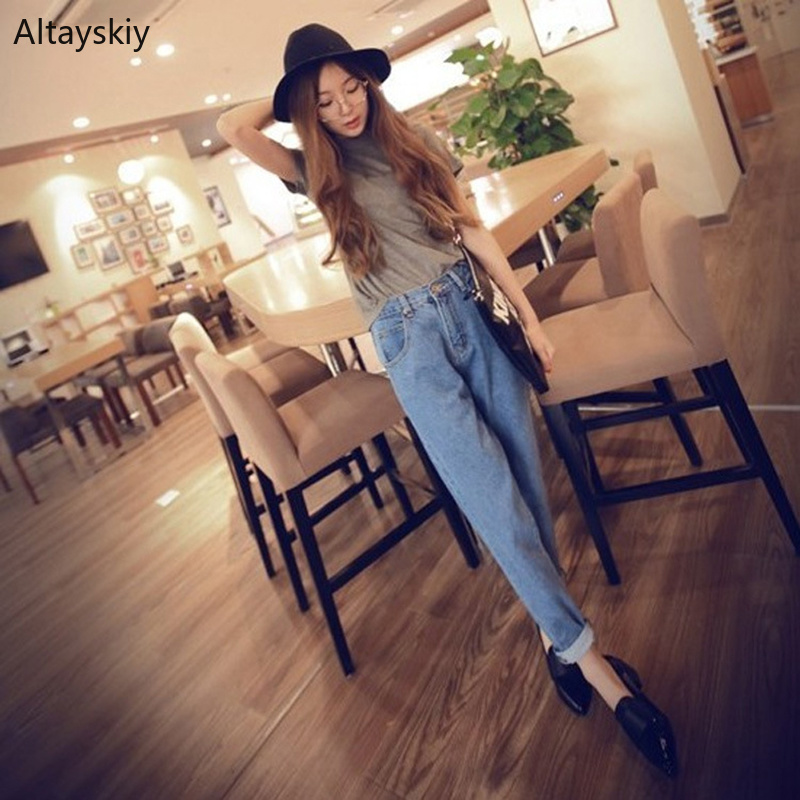 Jeans Women Solid Simple Elegant Ankle-Length Trousers Korean Style Lovely Pockets Female Harem Womens Trendy High Waist Casual
