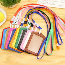 20pcs ID Badge Holder PU ID Card Accessories Holder Credit Card Bus Card Case Stationery School supplies With Lanyard