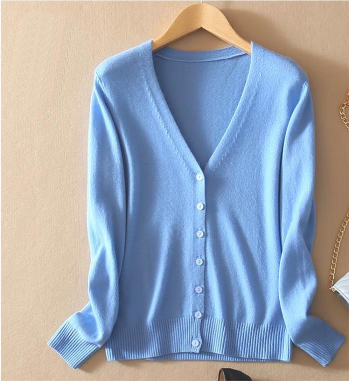 Women s Cashmere Autumn Winter V Neck Cardigan Sweater Wool Elastic Sweaters Slim Tight Bottoming Knitted
