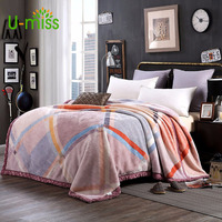 U miss Spring and Autumn 100% Polyester Double deck Raschel Blanket Modern Chinese Thicken on The Beds Rectangle Soft Blanket