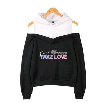 BTS FAKE LOVE LOVE YOURSELF jin rm jungkook suga j-hope v jimin off-the-shoulder sweatshirt K-pop autumn support group bts fake love inspired outfits