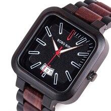 BOBO BIRD Reloj de madera para hombre y mujer, esfera cuadrada, reloj de pulsera de cuarzo con fecha automática, correa de cuero de madera, caja de regalo personalizada