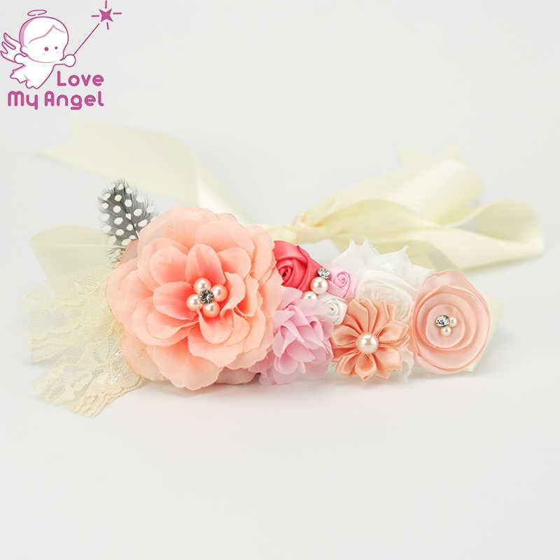 de8d1fd52c2 1 pcs Vintage coral peach wedding flower girl sash photography prop  Maternity belt prom dress belt