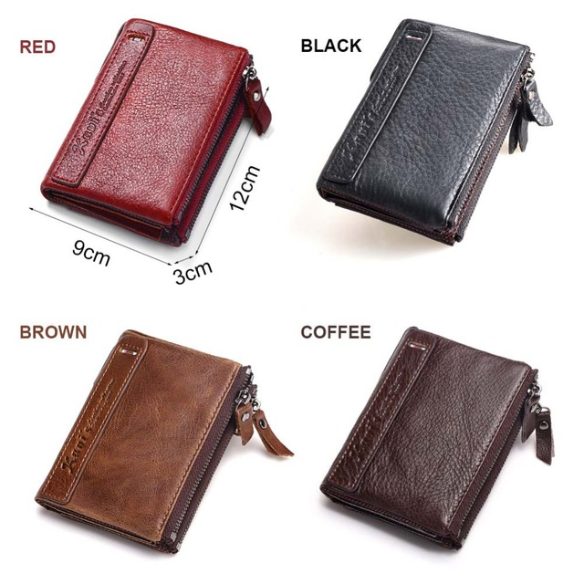 Vintage Genuine Leather Small Zipper Wallets