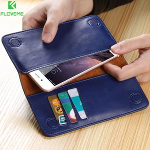 Image 1 - FLOVEME Genuine Leather Wallet Phone Bag Case for Samsung Galaxy S9 S8 Plus S7 S6 Edge Case Purse Cover For Capinha iPhone7 Plus