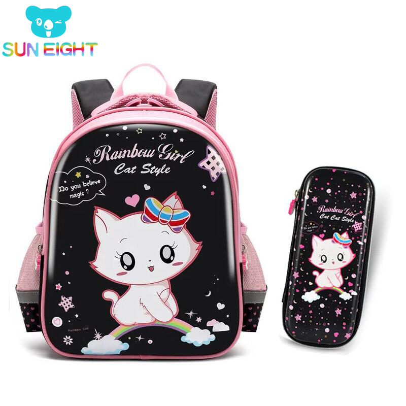Black Cat Backpack Shiny PU School Backpack For Girls Back To School Large Backpack Children School Backpack Girl Bag