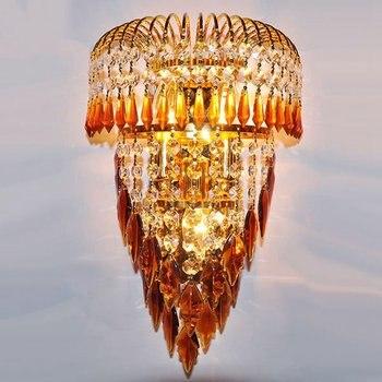 Modern Emas Istana Gerbang Dinding Tempat Lilin Kristal Daun Bedsides Koridor Dinding Lampu Kamar Tidur Mewah Ruang Tamu Eropa Dinding Pencahayaan