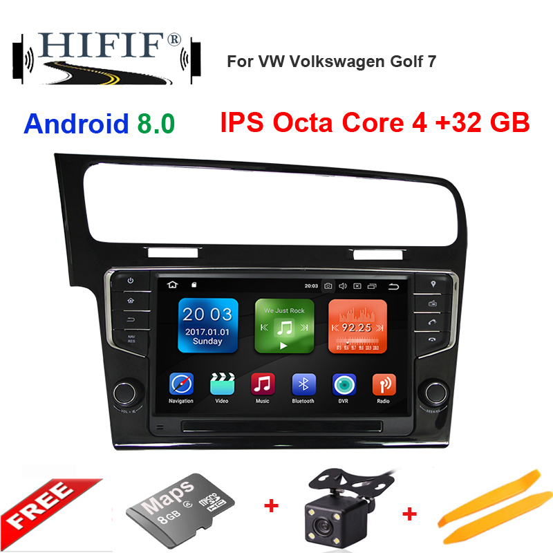 IPS 1Din 9inch Android8.0 Car GPS Multimedia Player For VW Golf 7 2013(piano black) Octa Core Fast Boot 4G RAM 32G ROM