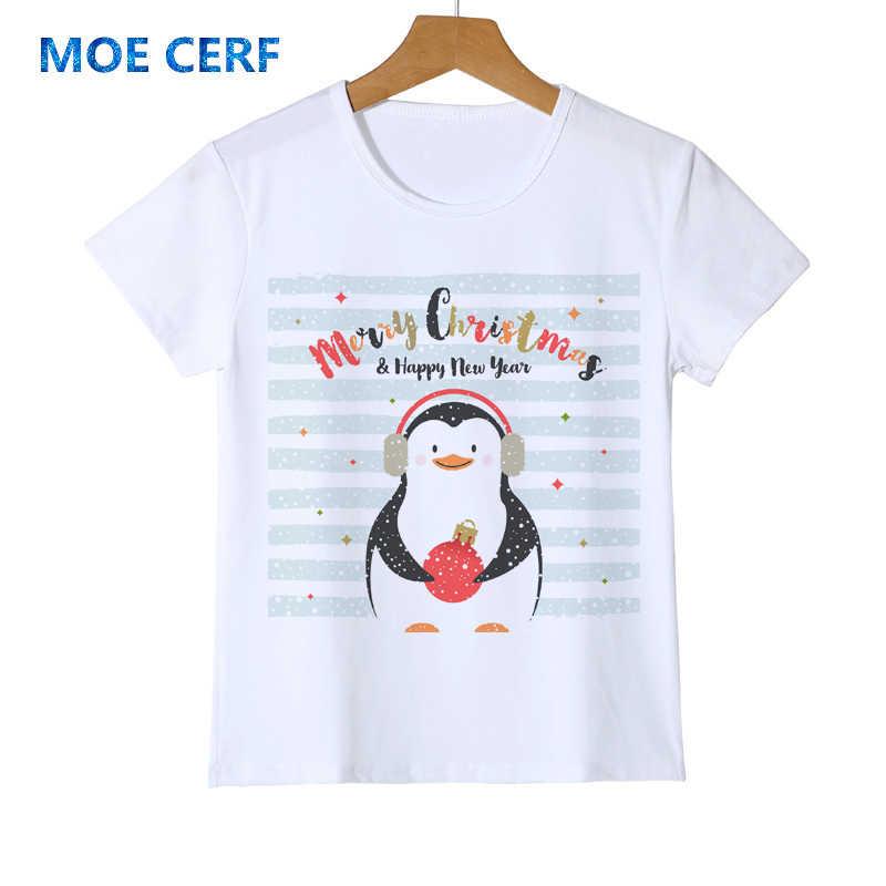 3dec3026d7 Merry Christmas Funny Baby Penguins T-shirt Boy Girl Chilldren Gift Stripe  Design Top Tee