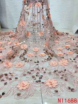 Hot Sale 3D Flowers Lace Fabrics Luxury Fashion Sequins Lace Fabric for Wedding Party Dress French AfricanTulle Mesh Lace NI1688