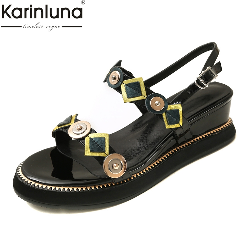 Big Size 33 42 Patent Cow Leather Ladies Wedges Shoes Woman Casual Party Office Summer Sandals