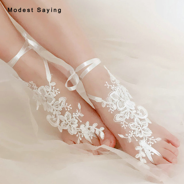 5f0ef896a1749 US $28.0 |Romantic 1 Pair Ivory Lace Wedding Barefoot Sandals Bridal Dance  Anklet Shoes With Hoop Toe Bridesmaid Sandbeach Foot Jewelry-in Anklets ...