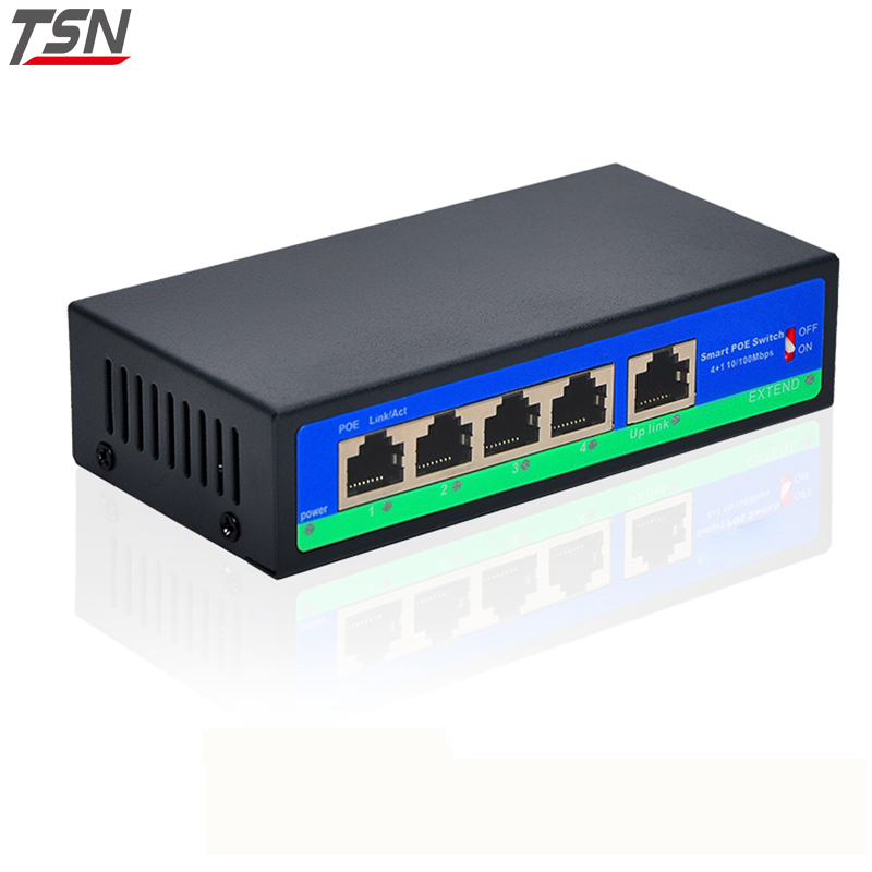 4-port PoE switch 4+1 Port Fast Ethernet Switch 10/100Mbps 802.3af Power over Ethernet Onvif IP Camera Compatible Network cctv 4 port 10 100m poe net switch hub power over ethernet poe