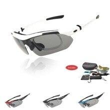 Profissional Polarized Óculos Ciclismo Bicicleta Goggles Outdoor Sports Sunglasses Bicicleta UV 400 Com 5 Lens TR90 5 cores