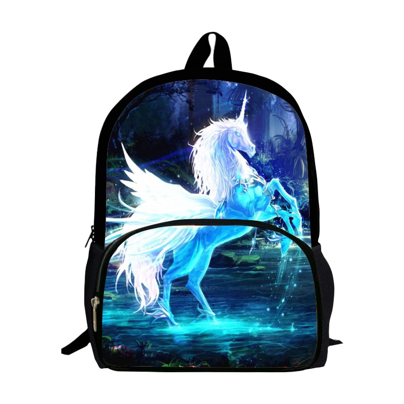 Special Offer New Style Oxford 16-Inch Prints Horse Children Small Backpacks Mythical Animals Babys School Bags Kids SchoolBag
