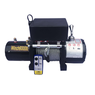 DC12V/24V 6000lbs Portable Electric Winch, 14m Wire Rope, Wireless / Handle Control, Suitable For Car Rescue, Cargo Traction