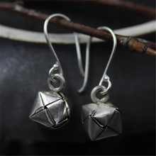 JINSE  S925 Sterling Silver Braided Earrings Original Handmade Thai Square Woven