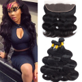 13*4 Ear to Ear Lace Frontal Closure With Body Wave Bundles Bleached Knots Lace Frontal Closure 8A Peruvian Virgin Hair Bundles