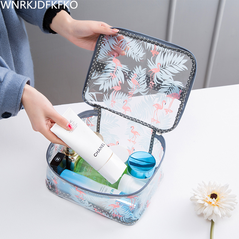 Flamingo PVC Transparent Cosmetic Bags For Women Travel Waterproof Wash Organizer Pouch Beauty Makeup Bag Accessories Supplies