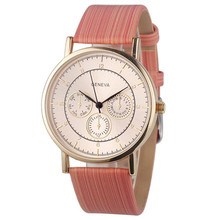 Quartz Watch Girls Geneva Fake Chronograph Girls Girls Wooden Leather-based Analog Quartz Wrist Watch Clock Relogio Feminino