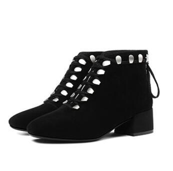 2018 Shooegle Bottes Piste Orteil Argent Talons Lacets Mode Cheville Britannique Noir Noir Boot Oeillets De Martin black argent Carré Chunky Femmes SSqrAwdx