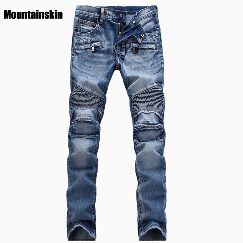 Mountainskin Men's Ripped Jean Denim Straight Biker Jeans Men Washed Skinny Jeans Vintage Slim Fit Brand Trousers Stretch SA089 2017 fashion patch jeans men slim straight denim jeans ripped trousers new famous brand biker jeans logo mens zipper jeans 604