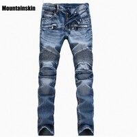2016 New Men S Ripped Slim Denim Straight Biker Jeans Men Washed Hole Skinny Jeans Vintage